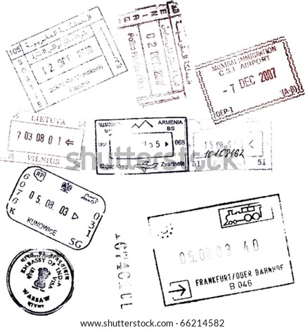 Soft passport stamps background for your design