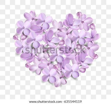 Soft pastel color floral 3d illustration on white background. Purple Lilac flowers and petals heart shape watercolor style vector illustration template
