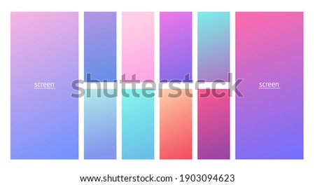 Soft pastel gradient smooth and vibrant color background set for devices, pc and modern smartphone screen soft pastel color backgrounds vector ux and ui design illustration isolated on white.