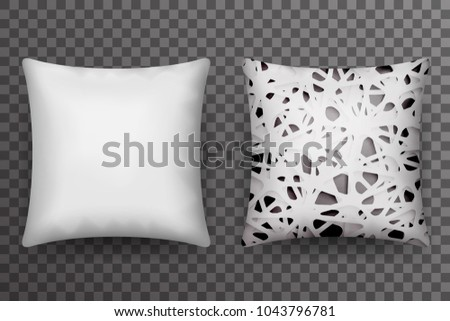 Soft pillow sleep abstract print realistic 3d transparent background template icon mockup design vector illustration