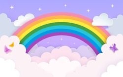 Soft pink and purple sky background with rainbow, clouds, stars and butterflies. Minimal backdrop in layered paper art style with copy space. Baby nursery, kids' room decor. Vector Illustration.