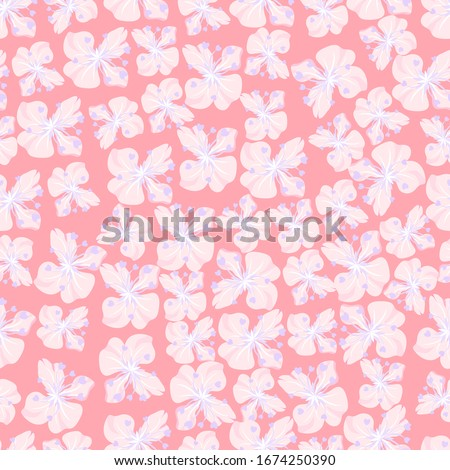 Soft pink flower seamless repeat pattern can be printed on wallpaper, wrapping paper, greeting card and fabric textile. It feels like spring everyday. Photo stock ©