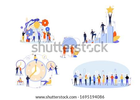 Soft skills, business, success, communication, win, time management set. People businessmen women with soft skills. Self confidence development, communication, time management, success goal creativity