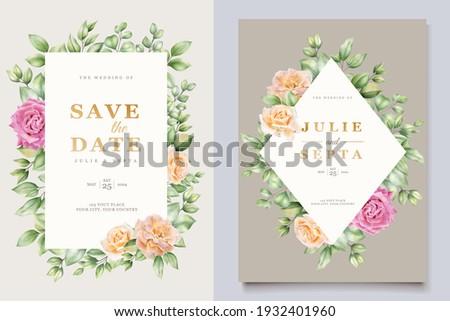 soft watercolor roses wedding invitation card set