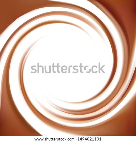 Soft wave mixed dark beige curvy dairy swirling smooth sign icon symbol logo. Deep red volute fluid choco blend logotype pictogram emblem insignia. Text space in biglight white milky center wallpaper