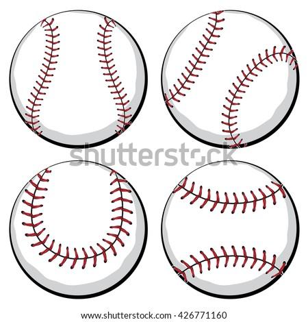 stock-vector-softball-baseball-ball-in-four-styles-sport-equipment