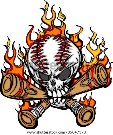 softball baseball skull and