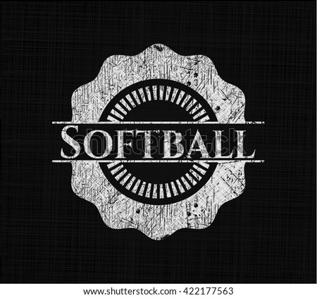 Softball chalkboard emblem on black board