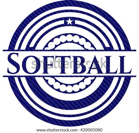 Softball emblem with jean texture