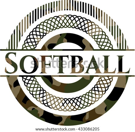 Softball on camouflaged pattern