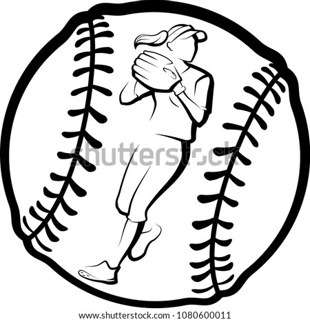 girl with softball glove vector download free vector art stock rh vecteezy com softball cliparts vector softball vector art free