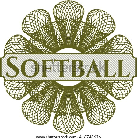 Softball written inside abstract linear rosette
