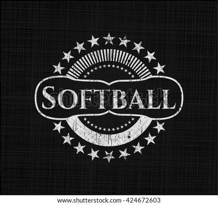 Softball written on a blackboard