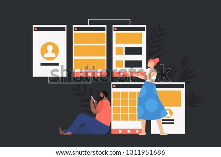 Software API prototyping and testing background. Prototyping, development and engineering vector flat concept design.