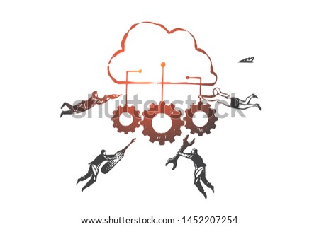 Software as a service SAAS concept sketch. Business people holding tools and gears connected with main cloud in hands. Hand drawn isolated vector illustration