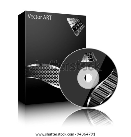 Software black box and disc isolated on white background Vector image software