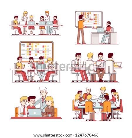 Software developer & business people teams working together at conference tables programming, planning, discussing work set. Programmer using SCRUM board. Flat linear characters vector illustration