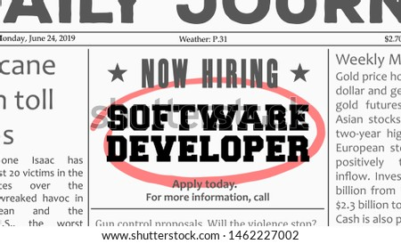 Software developer career - job offer. Newspaper classified ad career opportunity. Foto stock ©