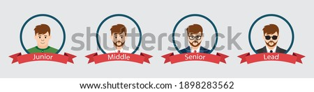 Software developer levels. From junior to team lead. Career ladder of programmer in it sphere. Vector Stock photo ©
