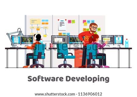 Software developing company team work together coding. Programmers writing code. Software developer office workplace desks. Team lead engineer teaching junior programmer. Flat vector illustration