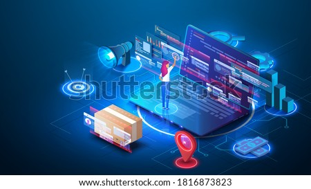 Software development and programming. Successful business woman. Online shopping concept with laptop website store. Free delivery, online buy, e-commerce shop logistic illustration.