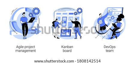 Software development company abstract concept vector illustration set. Agile project management, kanban board, devOps team, scrum meeting, project life cycle, stakeholder, testing abstract metaphor.