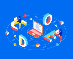 Software development concept. Code 3d word lettering typography with isometric programmers working on laptop. Flat 3d isometric style. Isometric design for web banner. Vector illustration.