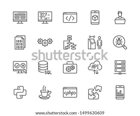 Software development flat line icons set. Programming language, application, api, computer program develop vector illustrations. Outline signs for website design. Pixel perfect. Editable Stroke.