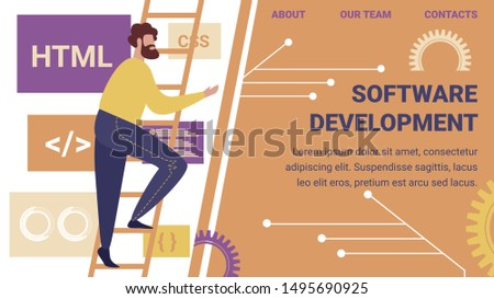 Software Development Horizontal Banner. Programmer Make Site or Web Interface Project. Website Designer Developer Social Media Wireframe Develop. Office Life Teamwork. Cartoon Flat Vector Illustration