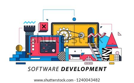 Software Development. Illustration in memphis style. Programming, coding, debugging.