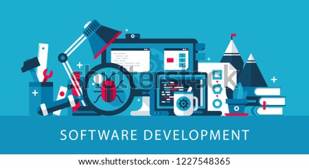 Software development illustration in modern flat style with bright colors. Desktop computer, laptop, programming, coding. Landing page web template.