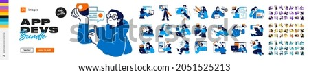 Software Development illustrations. Mega set. Collection of scenes with men and women involved in software or web development. Trendy vector style