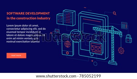 Software Development in the construction industry Concept for web page, banner, presentation. Vector illustration