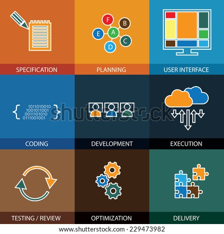 software development life-cycle process concept vector line icons This graphic represents steps like specification & planning coding & development execution & testing optimization & delivery
