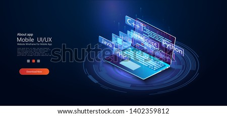 Software development, programming, coding vector concept. Technology concept. Programming web banner. Isometric vector illustration. Landing page concept. Technology process of Software development