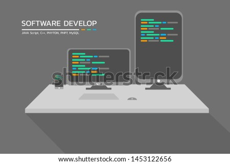 Software development.Software developer office workplace desks. Flat vector illustration
