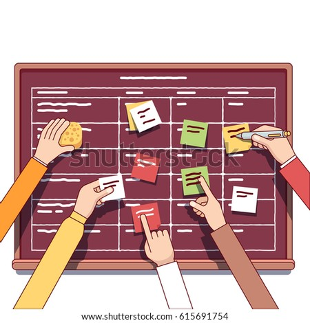 Software development team working together on a IT start up business. Scrum task board full of tasks on sticky note cards. Modern flat style thin line vector illustration isolated on white.