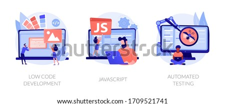 Software development. User interface design, programming language and usability testing. Low code development, javascript, automated testing metaphors. Vector isolated concept metaphor illustrations. Stock photo ©