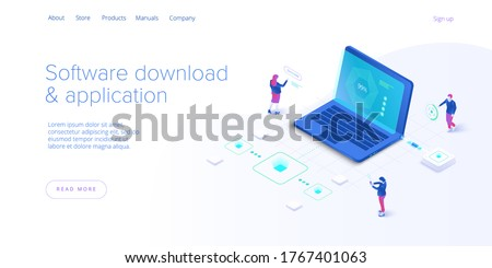 Software download and application isometric vector illustration. Program engeneers working on web app development, coding and testing. Website banner layout template.