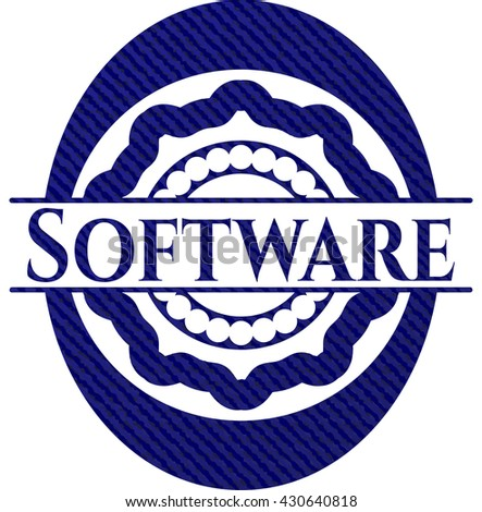 Software emblem with denim high quality background