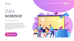 Software Engineer, Statistician, Visualizer and Analyst working on a project. Big data conference, big data presentation, data science concept. Website vibrant violet landing web page template.