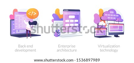 Software engineering, franchise building, cloud computing icons set. Back end development, enterprise architecture, virtualization technology metaphors. Vector isolated concept metaphor illustrations