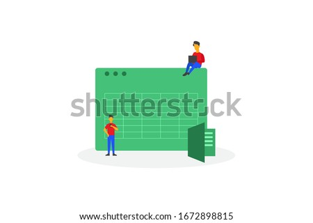 Software for accounting with sheet, formula, calculators. organizing accounting, financial, banking illustration concept for web landing page template, banner, and presentation