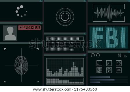 Software for the FBI. Monitor vector illustration. Detective intelligence.