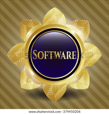 Software gold emblem or badge