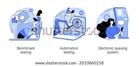 Software implementation abstract concept vector illustration set. Benchmark and automation testing, electronic queuing system, product performance, ticket generator, IT solution abstract metaphor.