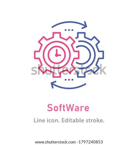 Software outline icon on white background. Editable stroke. Vector illustration.