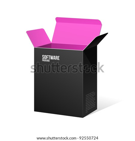 Software Package Box Opened Black Inside Pink Violet Purple - stock vector