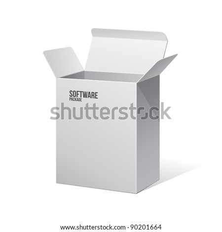 Software Package Carton Blank Box Opened White