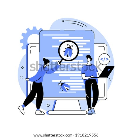 Software testing abstract concept vector illustration. IT software application testing, quality assurance, QA team, bug fixing, automation and manual, website and mobile abstract metaphor.